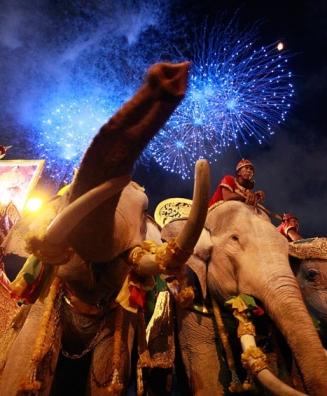 جشن شصتمین سالگرد تاجگذاری پادشاه تایلند در بانکوک